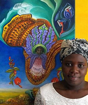 "Painting: Bruni Braun (""You&TABU with Art against FGM"" Museum Ostwall 7, Dortmund, 2013) www.verein-tabu.de/BruniBraun.php Enough is enough! We must put an end to FGM!rocodileBruniBintou2_300"