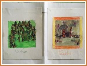 Das Vorher – Nachher Bild habe ich in meiner Volksschulzeit gemalt. Die Umweltzerstörung hat mich sehr betroffen gemacht.